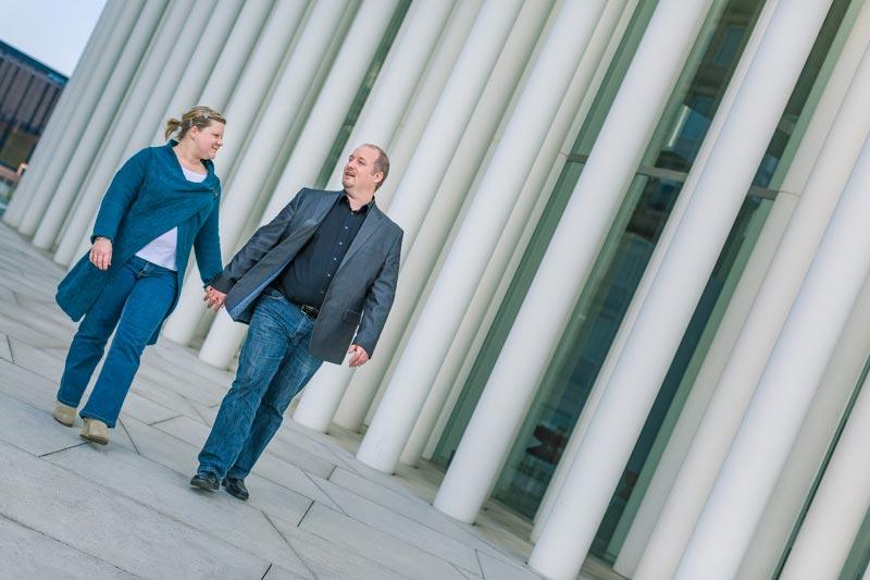 Belgium couple walking during engagement session