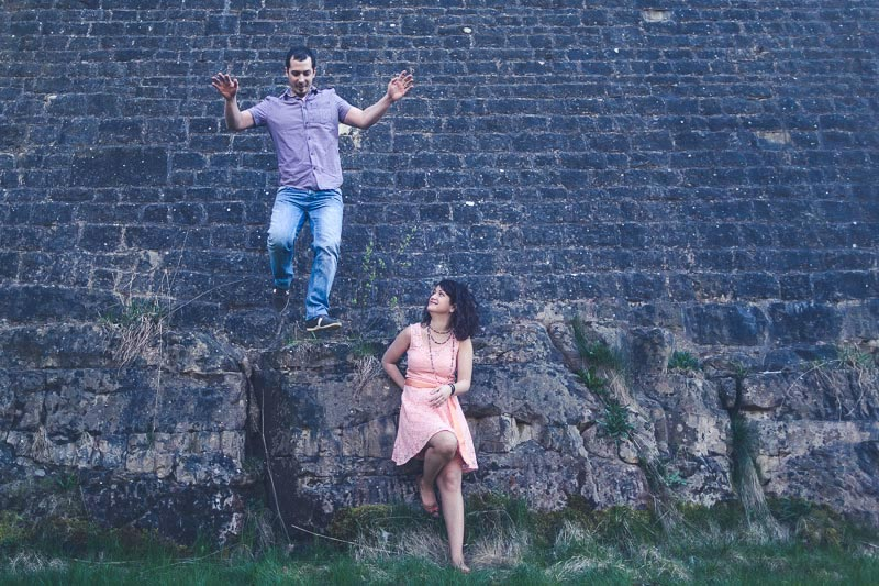 young couple having fun during engagement session