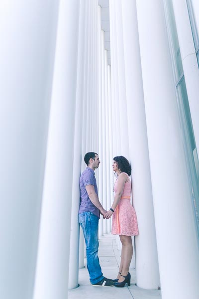 great engagement session photo at the philharmonie of luxembourg