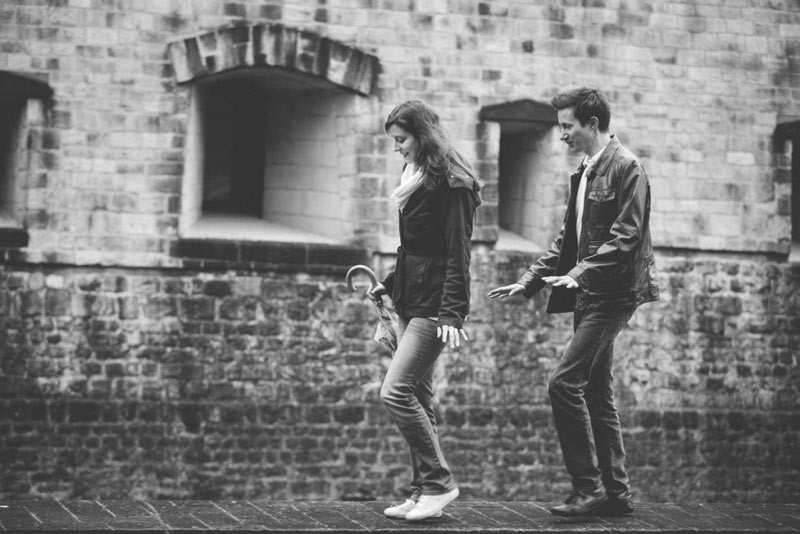 couple walking during engagement session