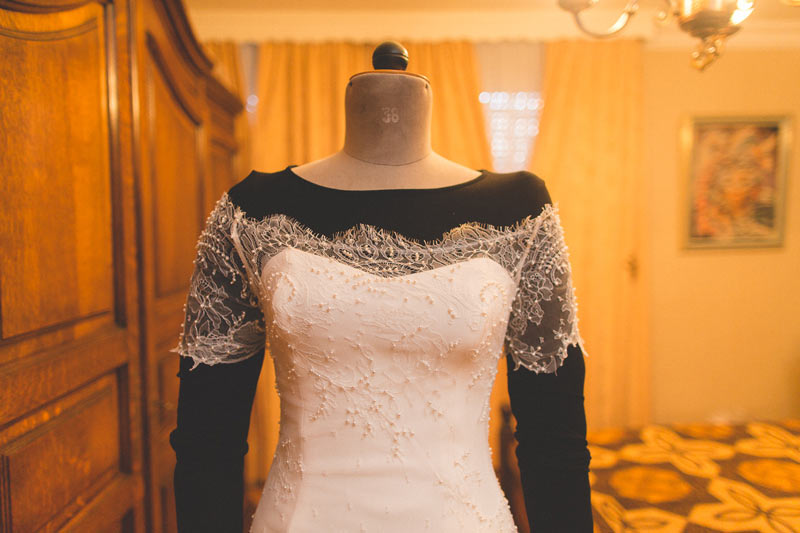wedding dressed on its mannequin