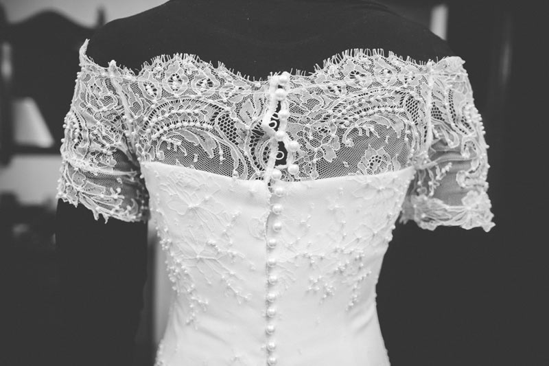 close-up on a beautiful handcrafted wedding dress