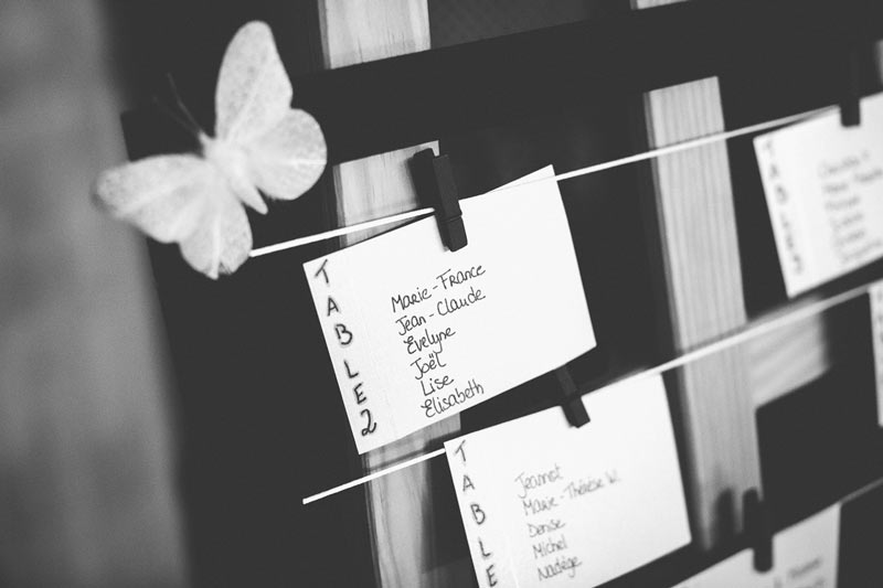 the table plan for the wedding night