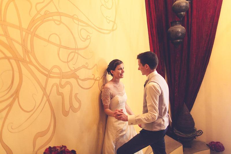 indoor wedding portrait at the restaurant Le Pavillon in Esch-sur-Alzette