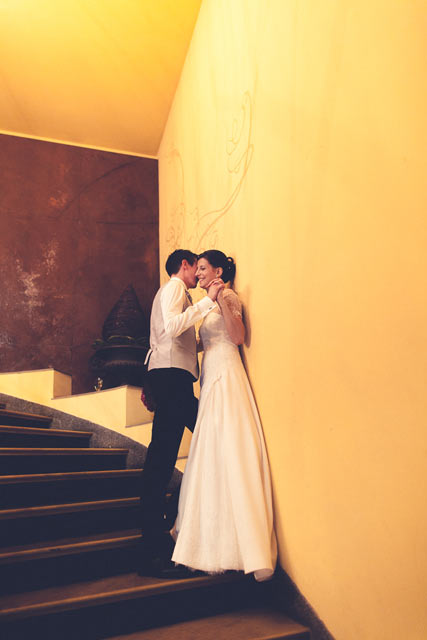 bride and groom portrait in the stairs of the Pavillon restaurant in Luxembourg