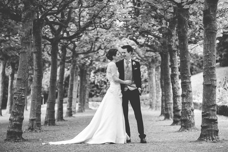 magnifique photo des mariés dans une allée d'arbre