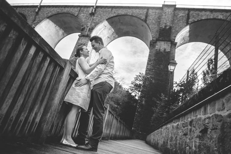 the photographer found a great viewpoint to shoot the couple