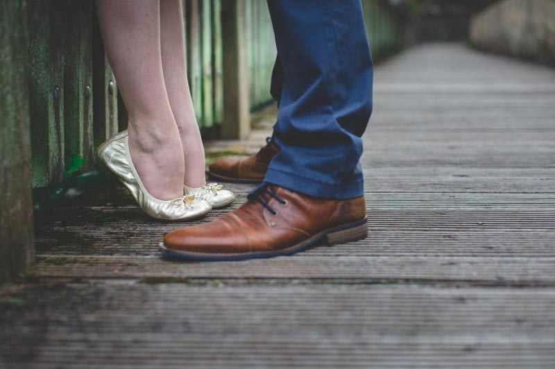 The photographer shot the feet of the couple