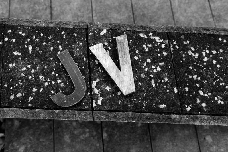 initials wooden letters during the engagement session