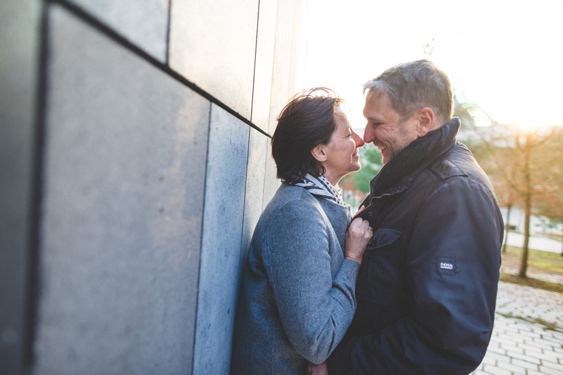 couple in front of the Melia hotel in luxembourg