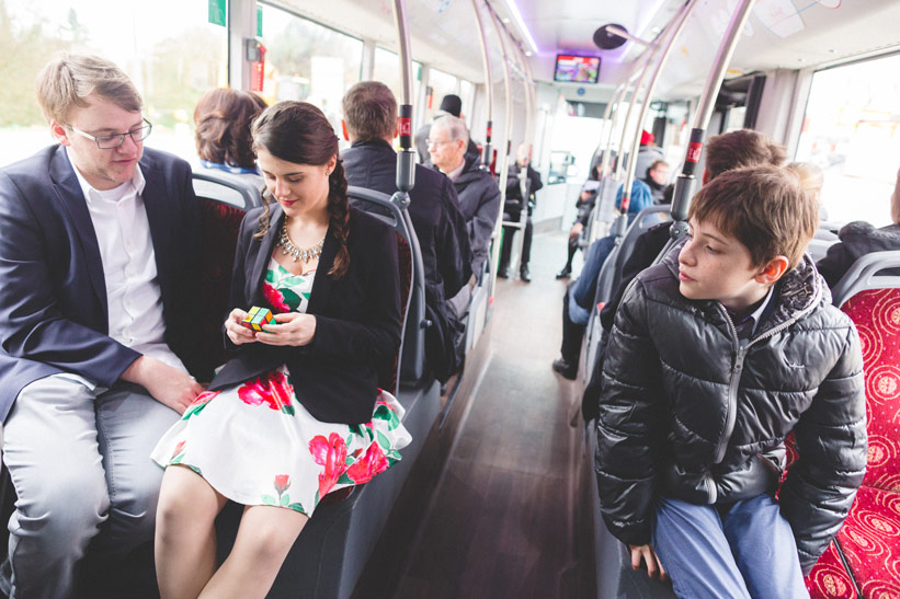 wedding guest on a bus