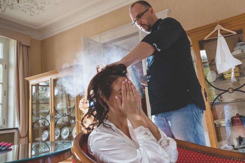 using hairspray
