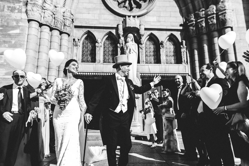 newlyweds coming out of luxembourg church
