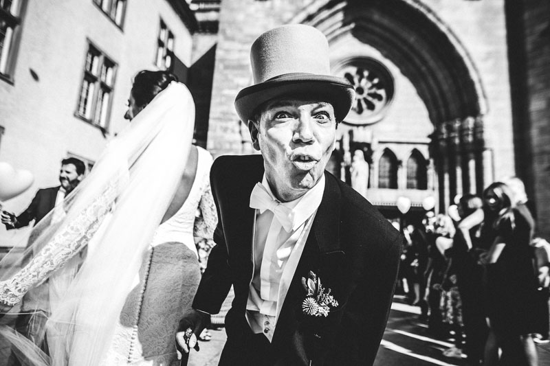 groom making a funny face