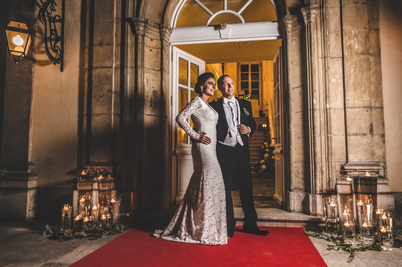 bride and groom portrait by night