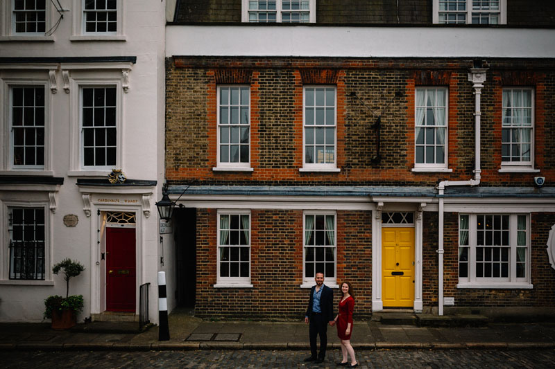 typical London brick wall with yellow door