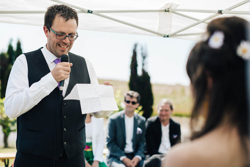 exchanging vows during wedding ceremony in Nantes